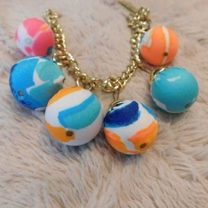 Lily Pulitzer bracelet,fabric wrapped gold dangle
